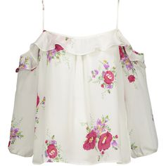 Joie - Birtha Cold-shoulder Ruffled Floral-print Silk Crepe De Chine... ($124) ❤ liked on Polyvore featuring tops, multi, flutter-sleeve tops, floral tops, floral print tops, cold shoulder ruffle top and floral cold shoulder top