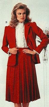 Pleated skirt and lacy blouse. So evocative of the 1980's.