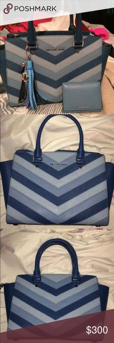 TRADE Medium Chevron Like new condition purse with long strap and wallet (tassel not included) LOOKING TO TRADE for Coach, MK, TB or KS Michael Kors Bags Shoulder Bags