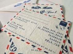 vintage airmail wedding invitations with rsvp cards by artcadia | notonthehighstreet.com