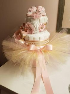 Girls Diaper Cake Shabby Pink With Bling Headband(Headband Style will Vary with each order) , Booties, and NB Tutu Photo Prop Girls Diaper Cake Shabby Pink With Bling HeadbandHeadband Vintage Diaper Cake, Pink Diaper Cakes, Princess Diaper Cakes, Nappy Cakes, Tea Cakes, Shower Party, Baby Shower Parties, Baby Shower Gifts, Baby Gifts