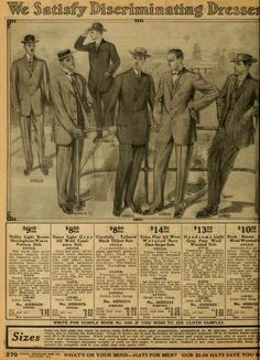 1912 Sears Catalog no. 124. Men's suits.