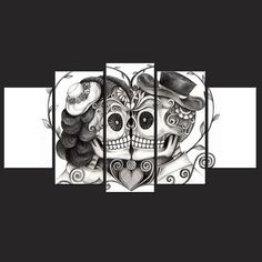 Large Day Of The Dead Wall Art    https://wearethebikerstore.com/collections/wall-art/products/large-day-of-the-dead-wall-art