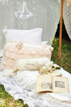 always in the summer....shabby bed for the lawn........by the rose garden......picnic.....