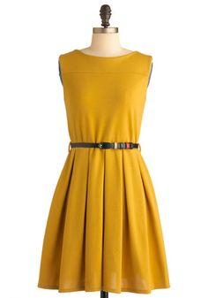 'Tis a Shift to Be Simple Dress in Mustard - Vintage Inspired, 50s, Yellow, Solid, Pleats, A-line, Sleeveless, Short, Fit & Flare, Belted, Minimal