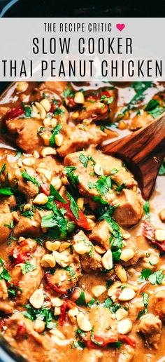 Slow Cooker Thai Peanut Chicken is a creamy, peanut flavor infused chicken that … - Crock Pot Recipes Site Crock Pot Recipes, Crock Pot Cooking, Crockpot Recipes Asian, Slow Cook Chicken Recipes, Cooking Turkey, Crockpot Ideas, Crock Pot Slow Cooker, Peanut Butter Chicken Recipe Crockpot, Noodle Recipes