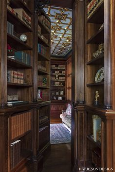 Beaux-Arts Mansion in Atlanta, GA by Harrison Design Atlanta, Georgia, United States Atlanta-based architectural firm Harrison Design worked with the owners of a acre property in North Home Library Design, House Design, Secret Rooms In Houses, Library Room, Future Library, Dream Library, Harrison Design, Hidden Rooms, Home Libraries