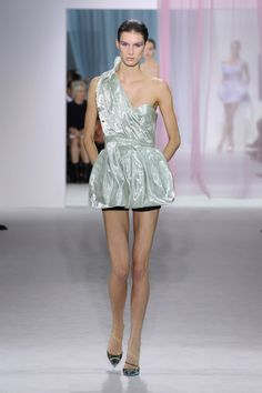"""Dior Spring Summer 2013 Ready-to-Wear – Look 11: Pale green satin duchesse and pale green metallic organza """"Bar"""" cut-off ball-gown worn with a black wool short. Discover more on www.dior.com #Dior#PFW"""