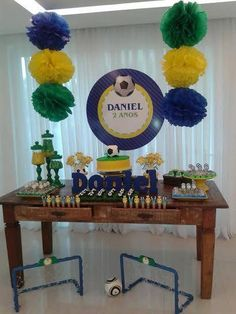 Susan Macieira Locações para Festas Brazil Party, Soccer Birthday Parties, Soccer Theme, Carnival Themed Party, Kids Decor, Event Decor, Party Time, Baby Shower, Table Decorations