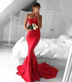 Red New Mermaid Prom Dresses Custom Made Satin
