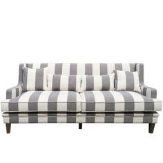 Gray and White Striped Sofa