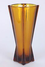 "Art Deco Amber Art Glass Rocket Vase Dark Topaz Zeppelin 9"" Tall Atomic Style"