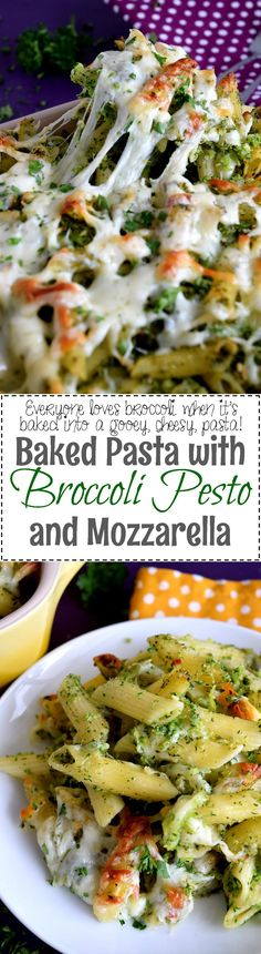Baked Pasta with Broccoli Pesto and Mozzarella Who doesn't love a baked pasta dish? Baked Pasta with Broccoli Pesto and Mozzarella is super cheesy and delicious, but also filled with two whole heads of broccoli! Broccoli haters just might be converted!!