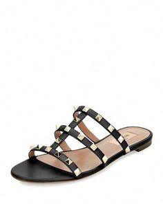 Valentino Garavani 'rockstud' Caged Leather Slide Sandals In Black Sandals Outfit, Women's Shoes Sandals, Leather Sandals, Shoe Boots, Women Sandals, Shoes Women, Flat Shoes, Flat Sandals, Valentino 2017