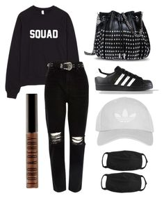 """Black"" by kimtahyung on Polyvore featuring STELLA McCARTNEY, River Island, adidas, Topshop and Lord & Berry"