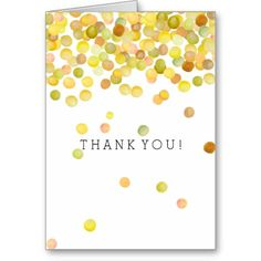 Gold Yellow Confetti Dots thank you Note Card