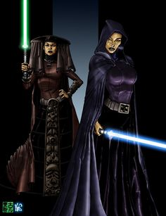 Jedi Ladies Colored by Fastfood.deviantart.com