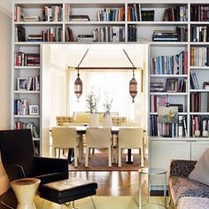Frame a doorway with bookshelves