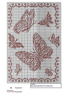 123 Cross Stitch, Cross Stitch Animals, Cross Stitch Charts, Cross Stitch Patterns, Butterfly Cross Stitch, Crochet Butterfly, Filet Crochet Charts, Afghan Crochet Patterns, Papillon Butterfly