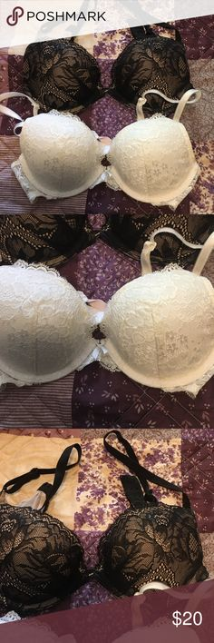 2 Victoria secret bras 2 Victoria secret bras both size 32C no rips, tears or holes in them. Both in good condition. The black one has only been worn twice. White one has been worn more than a hand full of times. Victoria's Secret Intimates & Sleepwear Bras