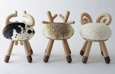 Spotted at ICFF, these Kamina C Stools designed by Takeshi Sawada are too cute ~ pictures really don't do them justice. They are ADORABLE! And fuzzy and cute and perfectly little kid sized. Coming in Bambi, Sheep, and Cow variations, Bambi is by far the cutest, sheep at a close second… take a peek at the pics on the next page!