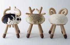 Cow, deer, and sheep stools by Kamina C.  I like the deer.