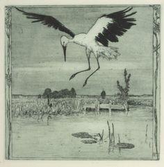 A Stork over the Pond Heinrich Vogeler, Shirt Drawing, Bird Illustration, Illustrations, Animal Paintings, Book Art, Fine Art Prints, Drawings, Animals