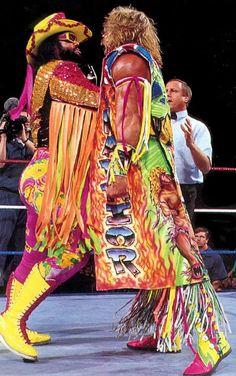 """Macho Man"" Randy Savage and the Ultimate Warrior. The Ultimate Warrior, Wwf Superstars, Wrestling Superstars, Watch Wrestling, Wrestling Wwe, Wrestling Outfits, Wrestling Stars, Figuras Wwe, Attitude Era"