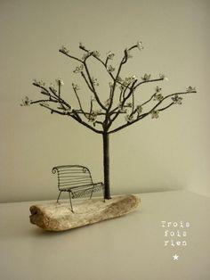 fil de fer, bois et papier