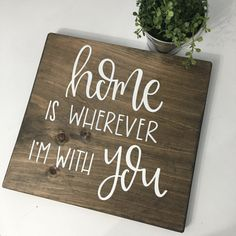 Home Is Wherever I& With You Wood Sign by palaceandjames on Etsy My Favorite Part, Favorite Things, Bedroom Signs, Drift Wood, White Letters, Wood Wall Decor, Lovey Dovey, Walnut Stain, Wood Work