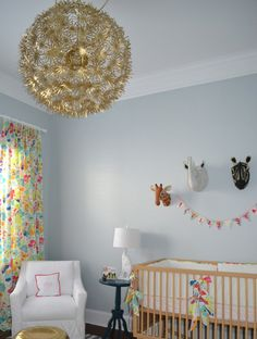 So loving the gold chandelier ... Spray-painted Ikea paper chandelier!!