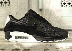 Nike Womens Air Max 90 - Black - White - Metallic Silver - SneakerNews.com