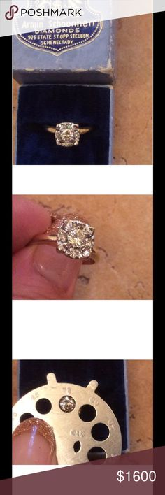 Vintage diamond ring size 6 If you're looking for that unique diamond engagement ring this is for you. It is marked 14 K. My estimate would be .50 -.75 tcw.This is my estimate for this ring I am not a jeweler. Diamonds are very clear maybe VS H/I in color.look at the photos for a complete description. They are  enlarged for a better close-up. Jewelry Rings