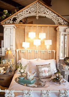 """Great backdrop setting to house this """"flat top"""" Victorian"""" iron bed. #ironbeds #antiqueironbeds"""