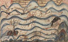 the deluge  Holkham Bible, England ca. 1320-1330.  BL, Add. 47682, fol. 8r