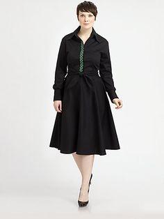 Melissa Masse, Salon Z - Embroidered-Placket Shirtdress - Saks.com