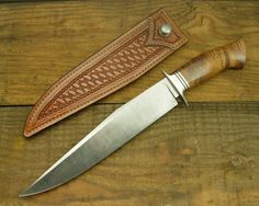 "Nick Wheeler Fighting Bowie knife. 9 7/8"" damascus blade, Koa wood handle. Nick made the superb sheath as well. As always, Nick has created another perfect example of the Bowie knife."