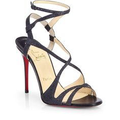 Christian Louboutin Audrey Glitter Strappy Sandals (3.595 BRL) ❤ liked on Polyvore featuring shoes, sandals, christian louboutin, black, pumps/heels, black strappy shoes, ankle tie sandals, strap sandals, glitter sandals and black evening shoes