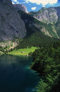 Fischunklalm pasture on Upper Lake in Berchtesgaden, Bavaria Germany