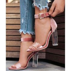 9c28a4f0b91 Transparent Chunky Heel Peep-toe Ankle Strap High Heel Pumps Sandals Q-0019