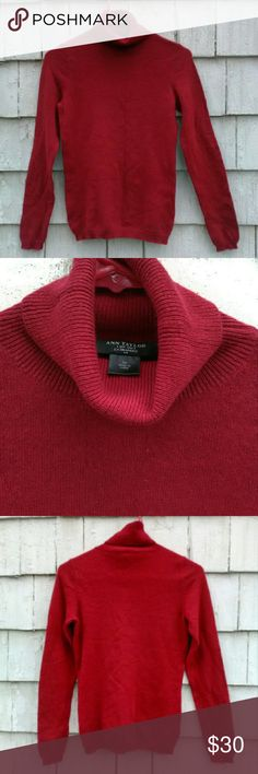 """Ann Taylor Red Cashmere Turtleneck Sweater Excellent condition,  deep red,  100% cashmere, fitted, turtleneck, sweater by Ann Taylor! Retails $169! Size xsmall and true to size.. See measurements. Chest is 15"""" wide (will comfortably stretch to 17 1/2"""" wide),  total length is 23 1/2"""" long. Ann Taylor Sweaters Cowl & Turtlenecks"""