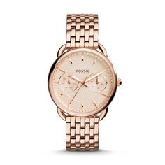 or in silver Fossil Women's Tailor Rose Gold-Tone Stainless Steel Bracelet Watch - Watches - Jewelry & Watches - Macy's Stainless Steel Watch, Stainless Steel Bracelet, Link Bracelets, Bracelet Watch, Ladies Bracelet, Jewelry Watches, Women's Watches, Wrist Watches, Silver Watches