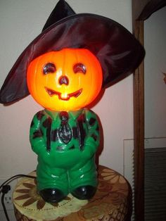 RARE Vintage Halloween Blow Mold Light Hill Billy Farm Boy Scarecrow Blinky Co | eBay
