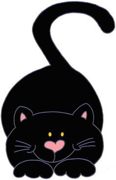 HALLOWEEN CUTE BLACK CAT CLIP ART Cool Cats, I Love Cats, Crazy Cats, Silhouette Chat, Image Chat, Cat Quilt, Cute Clipart, Cat Crafts, Cat Drawing