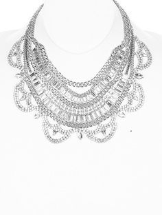 SILVER MULTI CHAIN BIB NECKLACE at Helen's Jewels, $42. Get 20% off of first order  by signing  up for email newsletter.