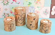 --OMG! I would be so tickled if you made these for me!! LOVE them!! Wood Burned Heart Tree Candle Holders
