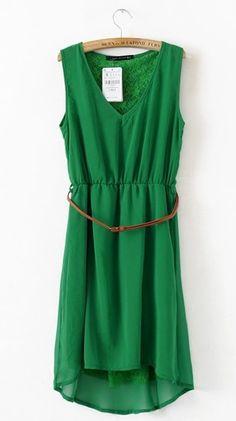 Women V Neck Asymmetric Chiffon Sleeveless Green A Line Dark Grain Flowers Dress S/M/L@II0117gr