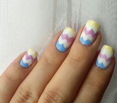 zigzag easter egg nailart white yellow blue pink