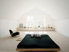nice big bed - wooden frame - simple