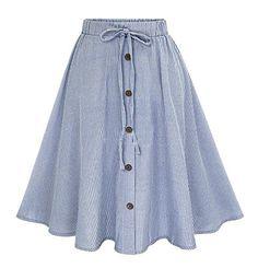 Womens New Front Pleat Back Elastic Stripe Print Skirt Lightweight Viscose